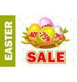 happy easter egg in birds nest twigs vector image vector image