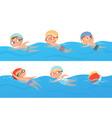 kids swimming happy children water sport in pool vector image vector image