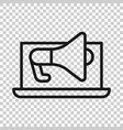 laptop with megaphone speaker icon in flat style vector image vector image