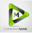 letter m logo symbol in the colorful triangle on vector image vector image