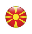 macedonia flag on button vector image vector image