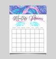monthly planner template design vector image