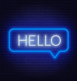 neon sign word hello in speech bubble frame on vector image