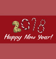 new year 2018 winter card with candies biscuit vector image