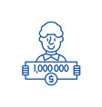 one million dollars line icon concept one million vector image