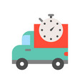 pickup truck and stop watch delivery estimate vector image