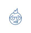 Punk emoji line icon concept punk emoji flat