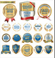 quality gold and blue badges and labels collection vector image vector image