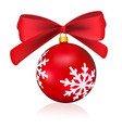 red christmas ball with a bow isolated on white vector image vector image