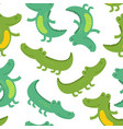 seamless patter with funny crocodile vector image
