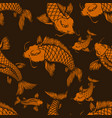 seamless pattern with carp koi design element vector image
