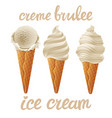 set of beige ice cream with vanila of different vector image vector image