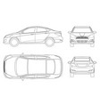 set of sedan cars in outline compact hybrid vector image