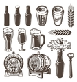 set vintage beer and brewery elements vector image vector image