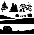 silhouettes of rural elements vector image vector image