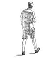 sketch a casual young person walking down the vector image vector image