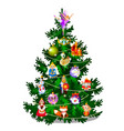 sketch with cute christmas tree new year gifts vector image vector image