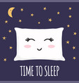 sleeping pillow with closed lashes zzz vector image