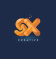 sx letter with origami triangles logo creative vector image vector image