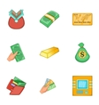 Types of money icons set cartoon style vector image vector image
