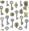 vintage keys golden and silver and keyholes vector image