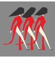 Walking modern Vietnamese women with Ao dai vector image vector image