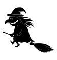 witch flying on broom silhouette vector image