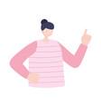 young woman with raised hand character isolated vector image vector image