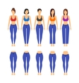 Blue Jeans Different Model and Fit for Women vector image