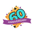 60 anniversary or birthday isolated festive icon vector image vector image