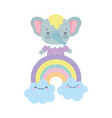 bashower cute elephant on rainbow with clouds vector image vector image