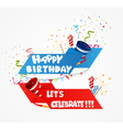 Birthday celebration background with ribbon vector image