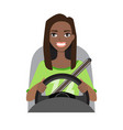 black african american woman driving a car woman vector image vector image