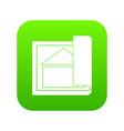 building plan icon digital green vector image