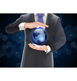 Businessman with globe vector image vector image