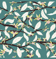 cacao tree branches in bloom seamless vector image