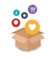 cardboard box with internet related icons image vector image vector image