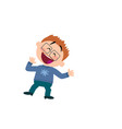 cartoon character of a cheerful boy with glasses vector image vector image