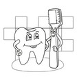cartoon of happy tooth character with vector image vector image