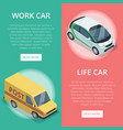 city transport isometric vertical flyers vector image