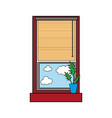 colorful window with curtain blind open and plant vector image