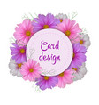cosmos flower card design round invitation vector image vector image