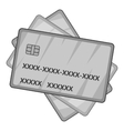 Credit cards icon gray monochrome style vector image