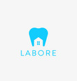 dentist house logo design tooth home creative vector image vector image