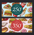 discount or gift voucher with fast food vector image vector image