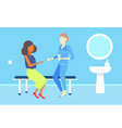 female doctor giving medications pills to african vector image vector image
