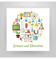 Flat Style Circle Set of Science and Education vector image