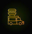 food truck yellow icon - street food vector image
