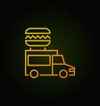 food truck yellow icon - street vector image