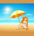 girl on tropical beach vector image vector image